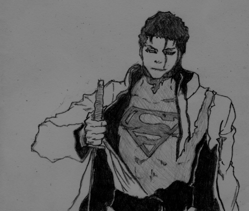 Aizen (Bleach) as Superman. Pencil, 2B.
