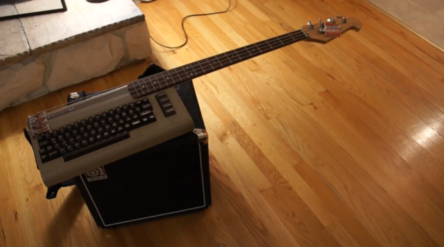 Commodore 64 transformed into hybrid bass keytar