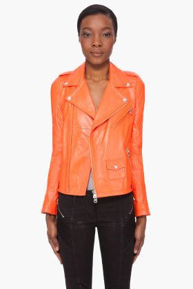 ORANGE LEATHER BIKER JACKET by Alexander McQueen on my bday wishlist