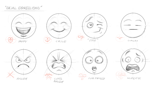 """Facial Expressions"" Sketching studies of some Emoticons for an upcoming chat app."