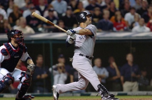 baseballswings:  Nick Swisher (Swish), switch hitting and takes hacks!