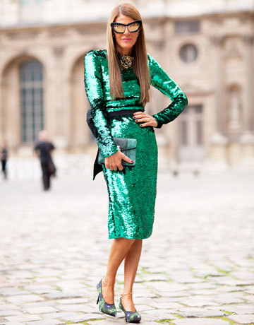 Street Style - Arrivals - Paris Couture Fashion Week 2012  Anna Dello Russo shines in green Dolce & Gabbana sequins.  FB-https://www.facebook.com/pages/RSVP/307689849282915 Twitter-https://twitter.com/SakshiBenipuri