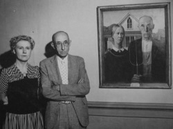 American Gothic by Grant Wood , with models. 1930