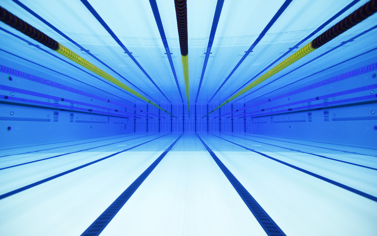 An underwater view is seen of the swimming pool at the Olympic Aquatics Centre in London February 17, 2012. [REUTERS/Eddie Keogh] PHOTOS: Inside London's Olympic venues