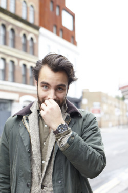 Emiliano wears the Timex Flyback Chronograph with Intelligent Quartz technology with dark brown leather strap as he is shot by blogger, stylist and photographer Jackie Dixon. Emiliano was shot as part of the Timex Street Styling activity in Shoreditch