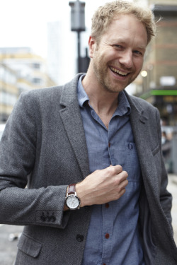 Ben wears Timex Flyback Chronograph with Intelligent Quartz technology with brown leather strap and white dial as he is shot by blogger, stylist and photographer Jackie Dixon. Ben was shot as part of the Timex Street Styling activity in Shoreditch