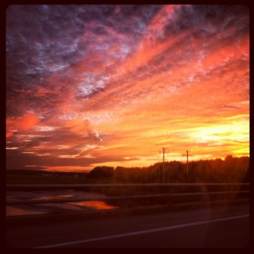 #sunset on our way home. #newengland #beach #adventures  (Taken with Instagram at Hampton Beach)