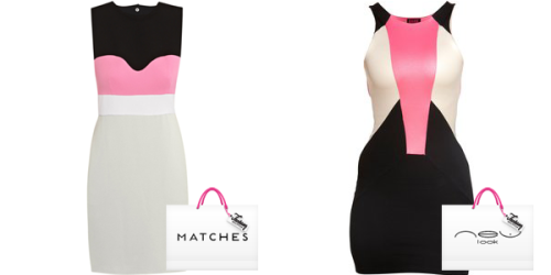 Matches Diane Von Furstenberg Pink Dress and New Look Colour Block Bodycon Dress