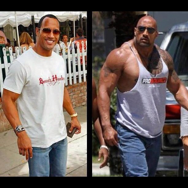 thinkrndm:  Transformation #therock #bodybuilding (Taken with Instagram)   The Rock has definitely been drinking his milk and taking vitamins.
