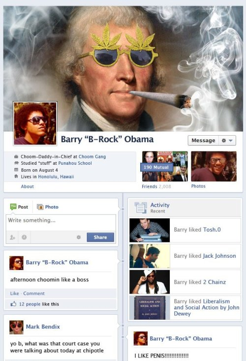 collegehumor:  Barack Obama and Mitt Romney As Teenagers on Facebook Today [Click to continue reading] Long before they were presidential material, Barack Obama had his Choom Gang, and Mitt Romney had his prep school pranks. Just like us, right? Now if only those two young bucks were kickin' around the interwebs today…  I just died. This shit's ridiculous. CHOOMIN, BITCH
