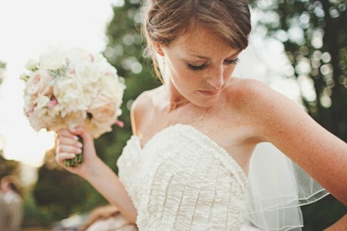 beautiful bridal portrait by jon schaaf.  pretty ruffled bridal gown by la sposa.