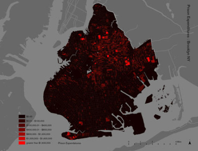 "Million Dollar Blocks via Spatial Information Design Lab ""The United States currently has more than 2 million people locked up in jails and prisons. A disproportionate number of them come from a very few neighborhoods in the country's biggest cities. In many places the concentration is so dense that states are spending in excess of a million dollars a year to incarcerate the residents of single city blocks. When these people are released and reenter their communities, roughly forty percent do not stay more than three years before they are reincarcerated.  ""Using rarely accessible data from the criminal justice system, the Spatial Information Design Lab and the Justice Mapping Center have created maps of these ""million dollar blocks"" and of the city-prison-city-prison migration flow for five of the nation's cities. The maps suggest that the criminal justice system has become the predominant government institution in these communities and that public investment in this system has resulted in significant costs to other elements of our civic infrastructure — education, housing, health, and family. Prisons and jails form the distant exostructure of many American cities today.  ""The project continues to present ongoing work on criminal justice statistics to make visible the geography of incarceration and return in New York, Phoenix, New Orleans, and Wichita, prompting new ways of understanding the spatial dimension of an area of public policy with profound implications for American cities."""