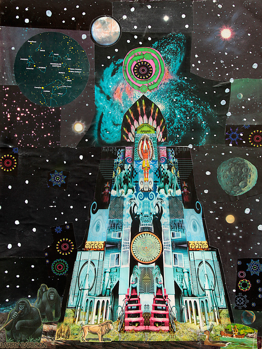 LARRY CARLSON, Temple of the Star Eagle, collage on paper, 16x24in., 2012.