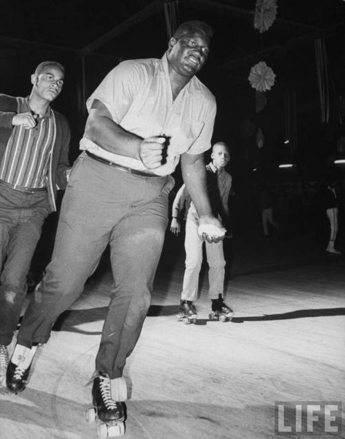 skateyourdate:  300 lb. Olympic boxing contender Buster Mathis roller skating June 1964 Grand Rapids, Michigan