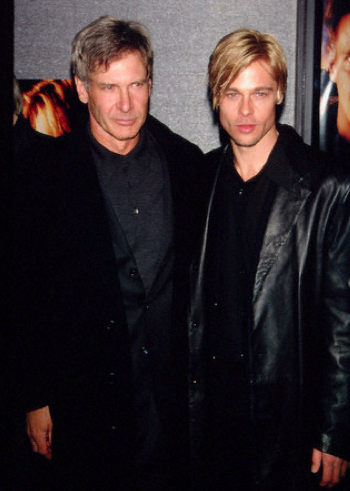 The passing of the torch: Harrison Ford and Brad Pitt at the New York premiere of The Devil's Own in 1997.
