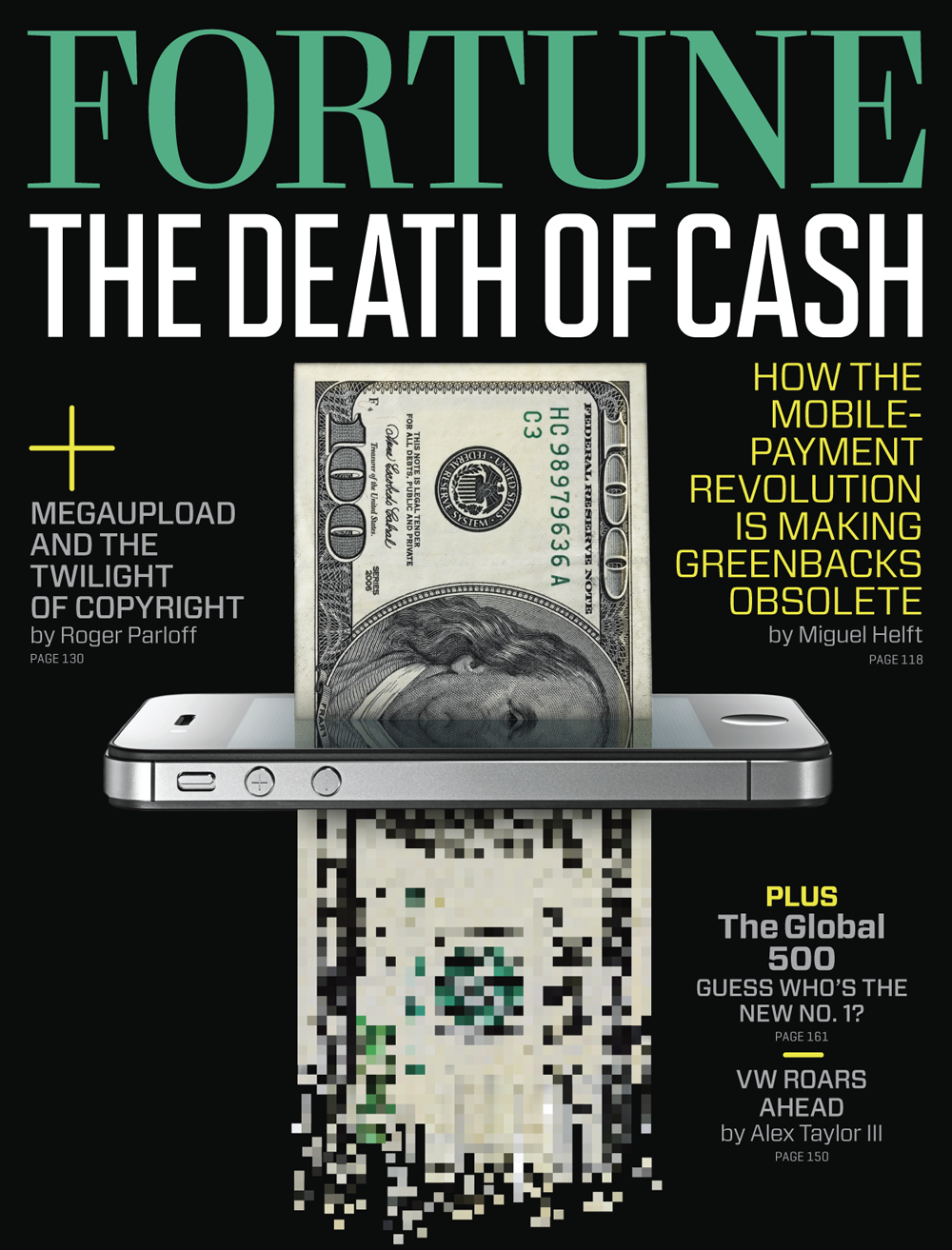 Fortune dives into the death of cash in the latest issue (July 23, 2012), as well as the global Fortune 500 list. Featuring work from Thomas Hannich, ILoveDust, Marta Cerda Alimbau, Vault 49, and many more.