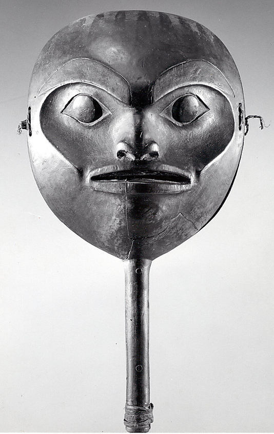 vivalundinproductions:  unknown artist Tsimshian Face Rattle mid-19th century  Wood fiber leather