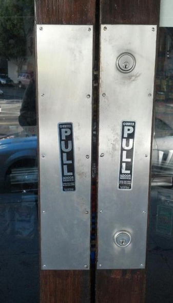 "collegehumor:  Door with No Handles Marked ""Pull"" Pull… with your MIND!"