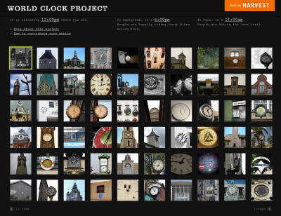 Our World Clock Project is back in action, thanks to some improved code work by our intern, Anthony! We've set out to collect as many pictures of clocks as possible from as many different people as possible from around the world. Our goal is to gather enough pictures to account for all the minutes of the day. Got any clocks you think should be on our site? Tag your photo with the appropriate time (e.g. 5:35) and then add your photo to the World Clock Project Flickr Pool - it's that easy to join in the fun!