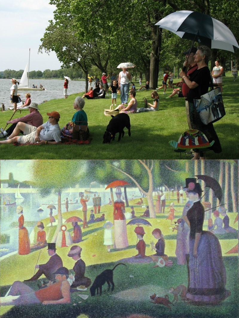 rocketboom:  Redux: A Sunday Afternoon on the Island of La Grande Jatte, 1884 - 2012. Via