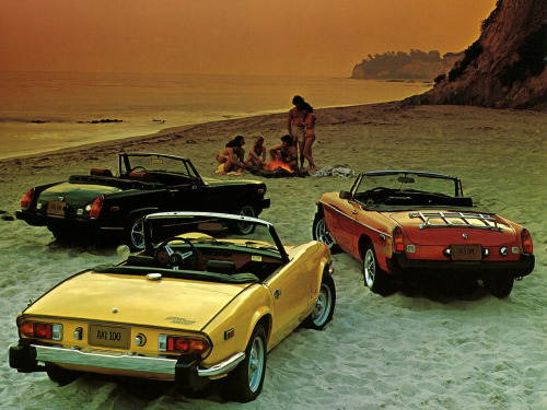 ruperthughes:  definemotorsports:  MG Midget & Triumph Spitfire The Brits invented the sportscar.  Just two more to go…