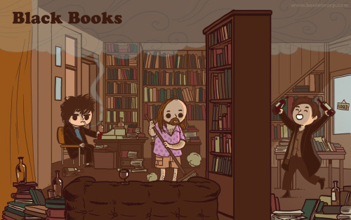 "bouletcorp:  ""Black Books Wallpaper"" (Blog)   oh my crap, this is adorable."