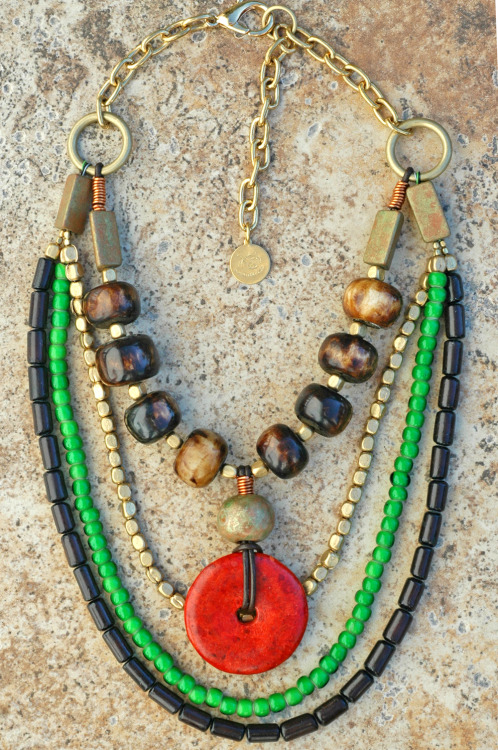 Zaire: African-Inspired Multi-Strand Beaded Coral Donut Necklace