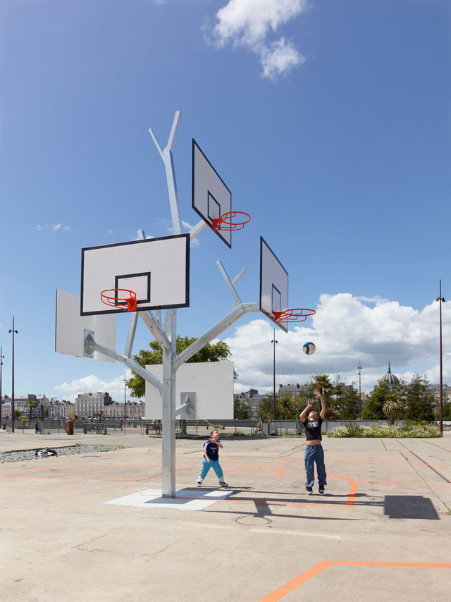Basket Tree, A Five Basketball Hoop Playground Sculpture