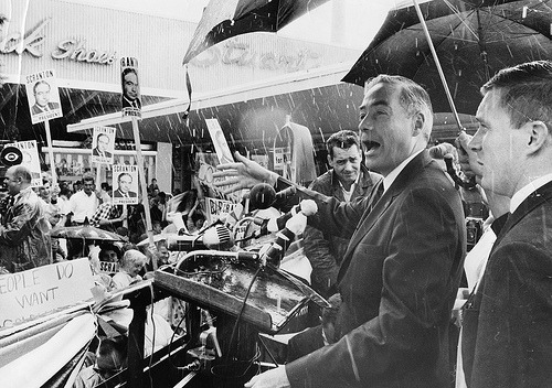 July 13-16, 1964. The Republican National Convention is held in San Francisco, California. Ronald Reagan gives the keynote address. Also present: George H.W. Bush, serving as a Texas delegate. Barry Goldwater receives the Republican nomination, beating out William Warren Scranton, pictured above. Image from the Penn State Special Collections Library, via Flickr.
