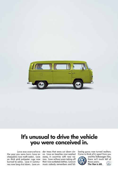It's unusual to drive the vehicle you were conceived in. What a brilliant ad. Classic