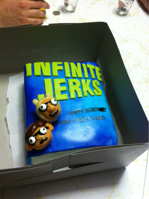 "Mark and Matt's Birthday cake, based off David Foster Wallace's ""Infinite Jest."" Yes, I made this all from scratch using fondant, food coloring, and marzipan. The cake inside is red velvet and cream cheese frosting. If I can't get a job as a designer, I can try and get a job as a cake decorator. marksteffen:  This is a cake that was made for Matt and myself for our birthdays. @retuta is a genius at both baking and figuring out new ways to give me conniption fits."