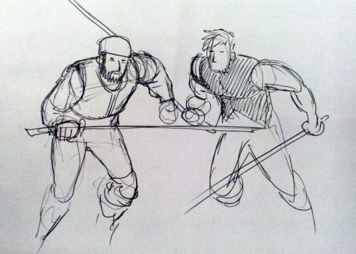 2 minute lunch break doodle: James and Toby.  - Rian