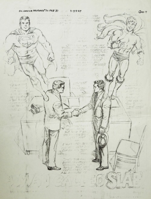 Curt Swan's pencils for an unpublished Superman/Creeper team-up!  It's amazing that Swan would make even an over-the-top costume design by Steve Ditko look elegant and manly at the same time.