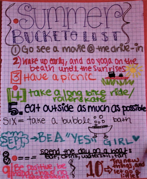 My Summer Bucket List.