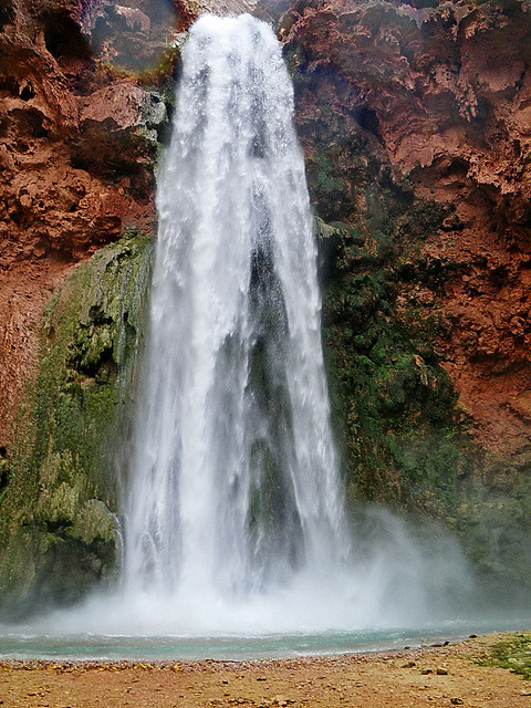 Mooney Falls with mist by Al_HikesAZ on Flickr.