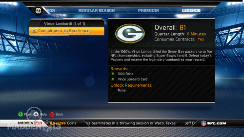 Madden NFL 13 Ultimate Team Details Revealed EA Sports unveiled new information about Ultimate Team mode in Madden NFL 13 via webcast this morning. Some of the notable additions in this year's free-to-play trading card mode include solo challenges, the ability to unlock additional legends for Connected Careers mode and the option to manage your team online. Also of note is the return of duplicate players being allowed on the same team, which will likely be criticized by veterans of the mode. In-depth details on the new features can be found here. A new MUT video has also been posted on the EA Sports YouTube page.