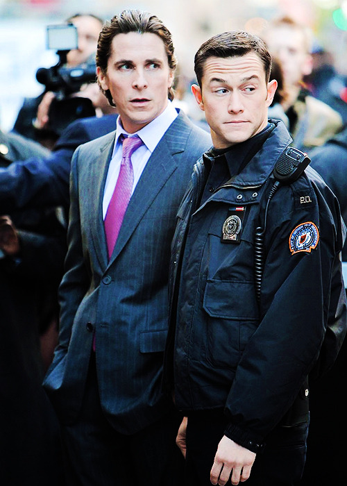Joseph Gordon-Levitt and Christian Bale on the set of The Dark Knight Rises