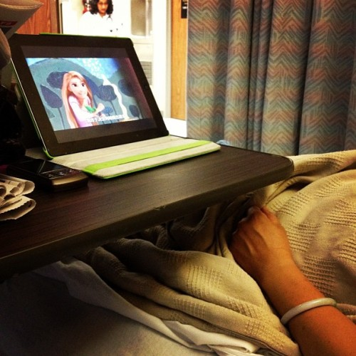 Watching Tangled with the aunt. #hospital (Taken with Instagram)