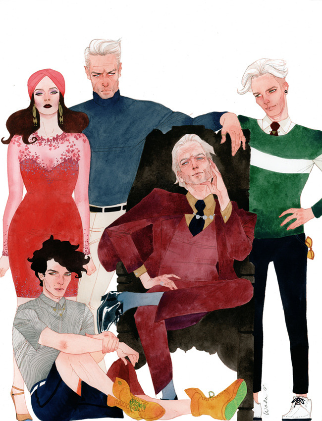 albotas:  House of M Kevin Wada's latest X-Men commission brings together Magneto, Quicksilver, Scarlet Witch, Wiccan, and Speed for a family portrait.
