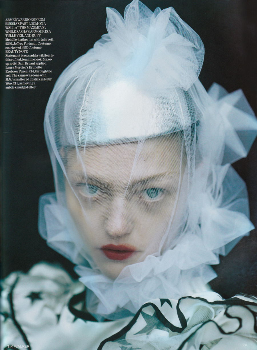 Vogue UK January 2007, White Nights Sasha Pivovarova by Tim Walker