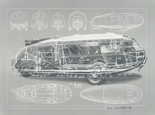 """Motor Vehicle-Dymaxion Car"", 1981  By: BUCKMINSTER FULLER and CHUCK BYRNE…."