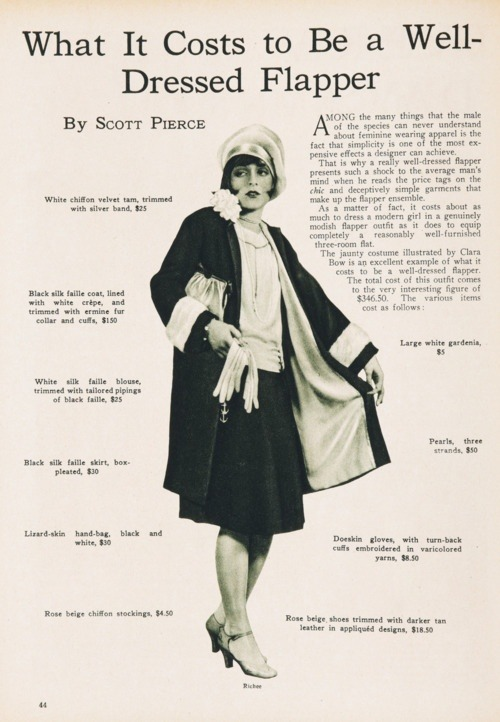 What It Costs to Be a Well-Dressed Flapper, 1926 -madalaine