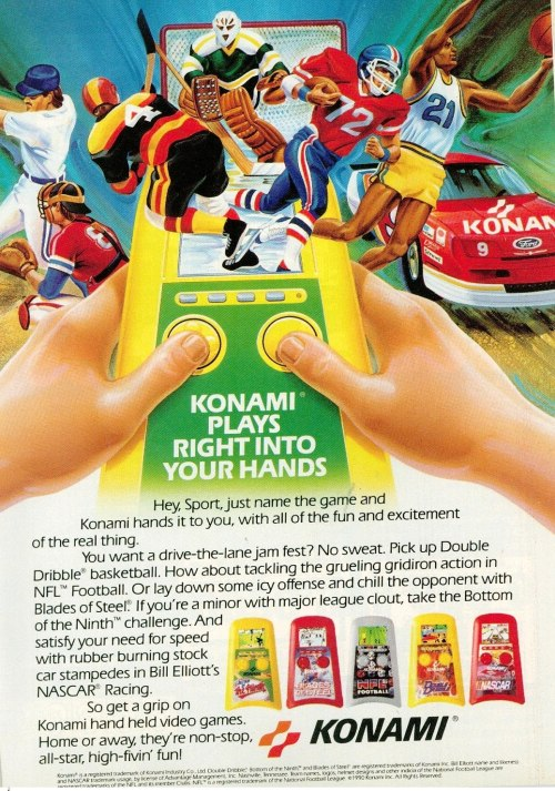 Ad for Konami's handheld LCD sports games.