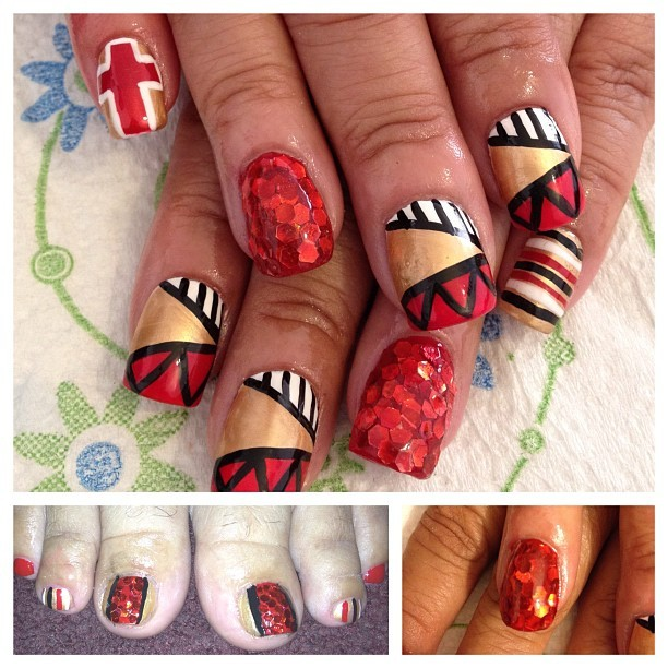 #nailart Big-top inspired nails. Those hand-placed glitter nails! 😍 #OPI big red hair #essie shifting power (Taken with Instagram)