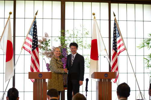 U.S. Secretary of State Hillary Rodham Clinton and Japanese Foreign Minister Koichiro Gemba shake hands after holding a joint press conference after the Tokyo Conference on Afghanistan in Tokyo, Japan, on July 8, 2012. [State Department photo by William Ng/ Public Domain]