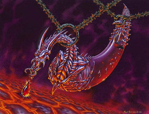 "Card Name: Dragon Blood Expansion: Mirrodin Artist: Ron Spencer  ""A single drop turns skin to scale and fist to claw."""