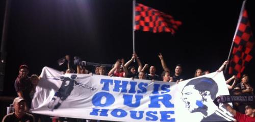 Cactus Pricks celebrate the last home match for FC Tucson at Field 5 with a tifo.My sister helped me trace and paint, and a friend got us in to the FC Tucson war room undetected by coaches and players to use the projector. Good times.