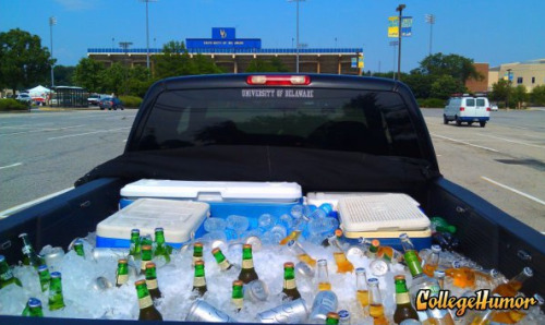 "Student Makes Truck Bed Cooler ""I made use of my truck bed by filling it with ice, dry ice, coolers of food, and most importantly…brews. (Water for those who didn't go to UD or didn't have enough midichlorian counts)""."