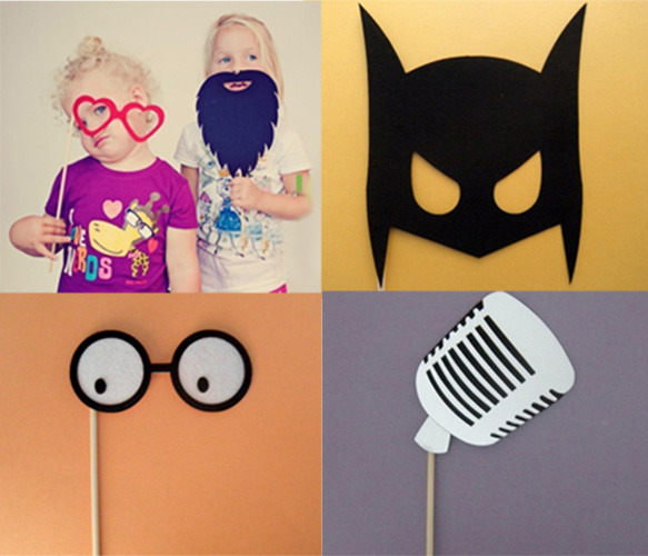 Get your silly mask on! These props make great photo opps for summer soirees and weddings.