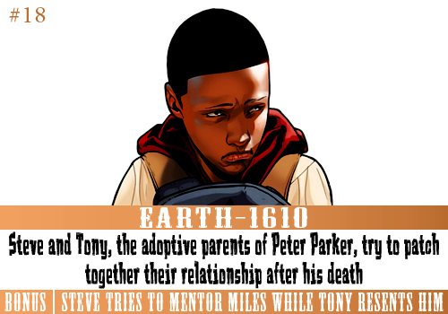 Universe: UltimatesPrompt: Steve and Tony, the adoptive parents of Peter Parker, try to patch together their relationship after his death.Bonus Point: Steve tries to mentor Miles Morales while Tony resents Miles for being the new Spider-Man.